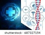 3d render of dna structure ... | Shutterstock . vector #687327154