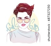 sexy beautiful short hairstyle...   Shutterstock .eps vector #687327250