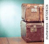 vintage travel valises. retro... | Shutterstock . vector #687328126