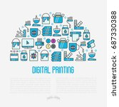 digital printing concept with... | Shutterstock .eps vector #687330388