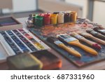 palette with oil paints and... | Shutterstock . vector #687331960