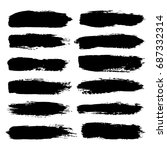 set of hand painted black... | Shutterstock .eps vector #687332314