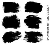 set of hand painted black... | Shutterstock .eps vector #687332374