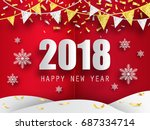 2018 happy new year background... | Shutterstock .eps vector #687334714