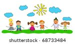 vector happy kids. | Shutterstock .eps vector #68733484