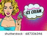 wow pop art female face. sexy... | Shutterstock .eps vector #687336346