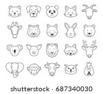 animal face outline set | Shutterstock .eps vector #687340030