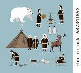 set of wild north arctic people ... | Shutterstock . vector #687341893