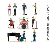 icons set of symphony orchestra ... | Shutterstock . vector #687341914