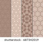 set of fashion floral pattern... | Shutterstock .eps vector #687342019