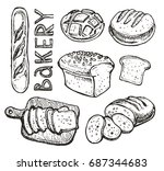 hand drawn doodle  bakery | Shutterstock .eps vector #687344683
