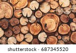 Wooden natural sawn logs as...