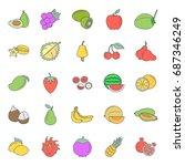 flat fruits icon set. vector... | Shutterstock .eps vector #687346249