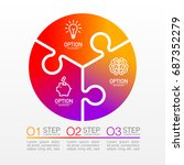 three piece flat round puzzle... | Shutterstock .eps vector #687352279