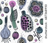 vector floral seamless pattern... | Shutterstock .eps vector #687368950