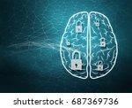 brain lock 3d rendering 3d... | Shutterstock . vector #687369736