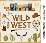wild west poster for party... | Shutterstock .eps vector #687369784