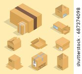 different box vector isometric... | Shutterstock .eps vector #687374098