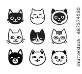 Stock vector cute cartoon cat doodle set funny vector icons hand drawn sketch style cat characters faces 687374530