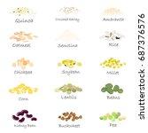 vector set of cereal and grain...   Shutterstock .eps vector #687376576