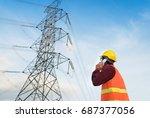 engineer or electrician working ... | Shutterstock . vector #687377056