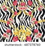 Baroque Flower Zebra Backgroun...