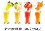 set of fruit juice splash in a... | Shutterstock .eps vector #687379660