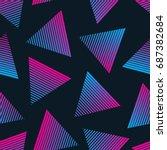 vector 80s retro style seamless ... | Shutterstock .eps vector #687382684