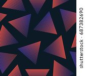 vector 80s retro style seamless ... | Shutterstock .eps vector #687382690