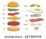 hamburger ingredients... | Shutterstock .eps vector #687384958