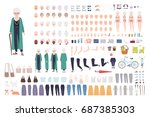 old lady character constructor. ... | Shutterstock .eps vector #687385303