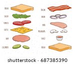 sandwich ingredients separately.... | Shutterstock .eps vector #687385390