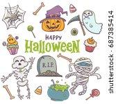 happy halloween cute set ... | Shutterstock .eps vector #687385414
