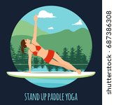 woman doing stand up paddling...   Shutterstock .eps vector #687386308