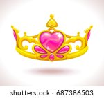 beautiful golden princess crown ... | Shutterstock .eps vector #687386503