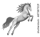 jumping horse on a white... | Shutterstock .eps vector #687387319