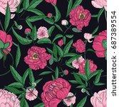 beautiful peonies seamless...   Shutterstock .eps vector #687389554