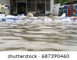 flood water   sandbags for... | Shutterstock . vector #687390460