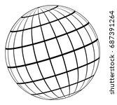 globe 3d model of the earth or... | Shutterstock .eps vector #687391264