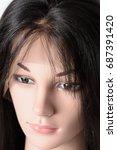 straight perm coarse black... | Shutterstock . vector #687391420