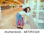 woman sad and unhappy at the... | Shutterstock . vector #687392164