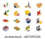 online shopping   isometric... | Shutterstock .eps vector #687395230