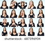 collage of beautiful girl with... | Shutterstock . vector #687396934