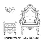 baroque furniture rich set... | Shutterstock .eps vector #687400030