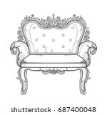 baroque furniture rich armchair.... | Shutterstock .eps vector #687400048
