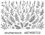 hand drawn set of tree branches ... | Shutterstock .eps vector #687400723
