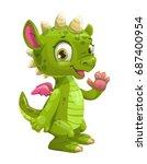 little cute cartoon green... | Shutterstock .eps vector #687400954
