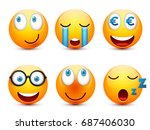 smiley with blue eyes emoticon... | Shutterstock .eps vector #687406030