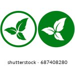 eco icons with green leaves...   Shutterstock . vector #687408280