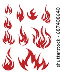 vector set of flame. a... | Shutterstock .eps vector #687408640